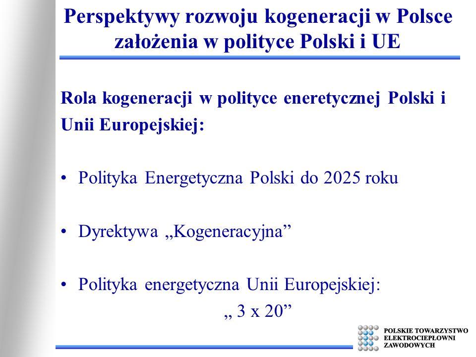 Polityka Energetyczna Polski do 2025 roku zakłada: Radykalną poprawę efektywności wykorzystania energii zawartej w surowcach energetycznych - przez zwiększenie sprawności przetwarzania energii w ciepło i energię elektryczną, promowanie układów skojarzonego wytwarzania energii elektrycznej i ciepła oraz zagospodarowanie ciepła odpadowego.