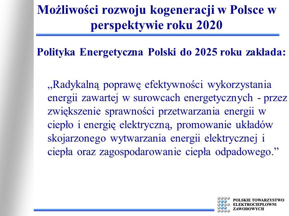 Polityka Energetyczna Polski do 2025 roku zakłada: Radykalną poprawę efektywności wykorzystania energii zawartej w surowcach energetycznych - przez zw