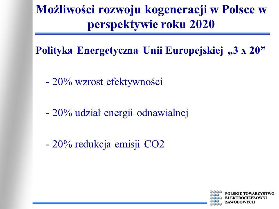 Polityka Energetyczna Unii Europejskiej 3 x 20 - 20% wzrost efektywności - 20% udział energii odnawialnej - 20% redukcja emisji CO2 Możliwości rozwoju