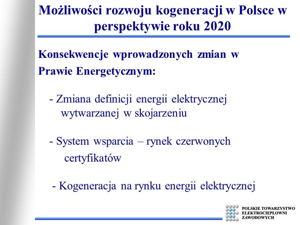 Zmiana definicji energii elektrycznej wytwarzanej w skojarzeniu: - nowa definicja podnosi próg sprawności klasyfikujący energię jako energię z kogeneracji z 70% na 75% i 80% - jednocześnie pozwala kwalifikować część energii jako wysokosprawną ze źródeł w których sprawność ogólna jest niższa od wartości granicznej