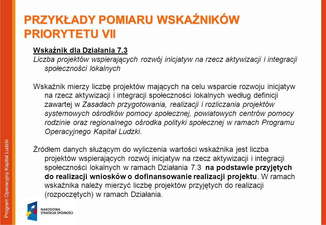 PRZYKŁADY POMIARU WSKAŹNIKÓW PRIORYTETU VII Wskaźnik dla Działania 7.3 Liczba projektów wspierających rozwój inicjatyw na rzecz aktywizacji i integrac