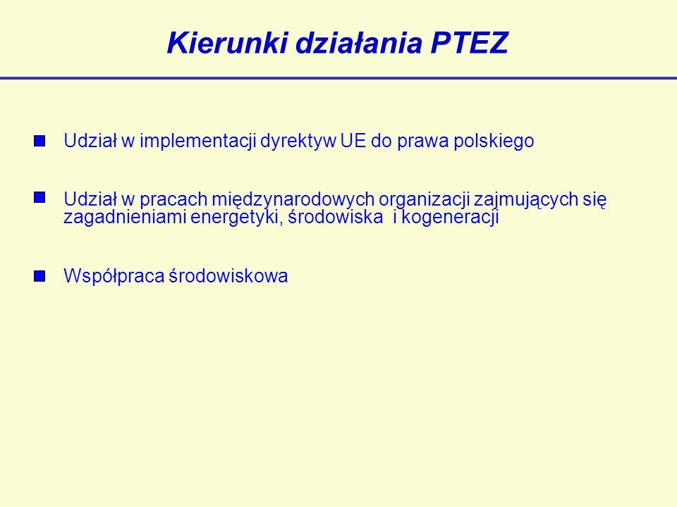 Kierunki działania PTEZ Udział w implementacji dyrektyw UE do prawa polskiego Udział w pracach międzynarodowych organizacji zajmujących się zagadnieniami energetyki, środowiska i kogeneracji Współpraca środowiskowa