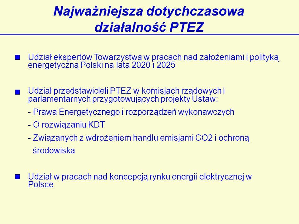 Najważniejsza dotychczasowa działalność PTEZ Udział ekspertów Towarzystwa w pracach nad założeniami i polityką energetyczną Polski na lata 2020 i 2025 Udział przedstawicieli PTEZ w komisjach rządowych i parlamentarnych przygotowujących projekty Ustaw: - Prawa Energetycznego i rozporządzeń wykonawczych - O rozwiązaniu KDT - Związanych z wdrożeniem handlu emisjami CO2 i ochroną środowiska Udział w pracach nad koncepcją rynku energii elektrycznej w Polsce