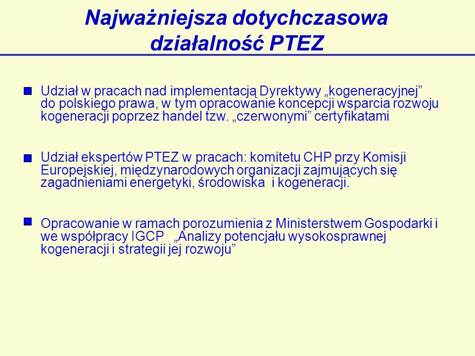 Najważniejsza dotychczasowa działalność PTEZ Udział w pracach nad implementacją Dyrektywy kogeneracyjnej do polskiego prawa, w tym opracowanie koncepcji wsparcia rozwoju kogeneracji poprzez handel tzw.