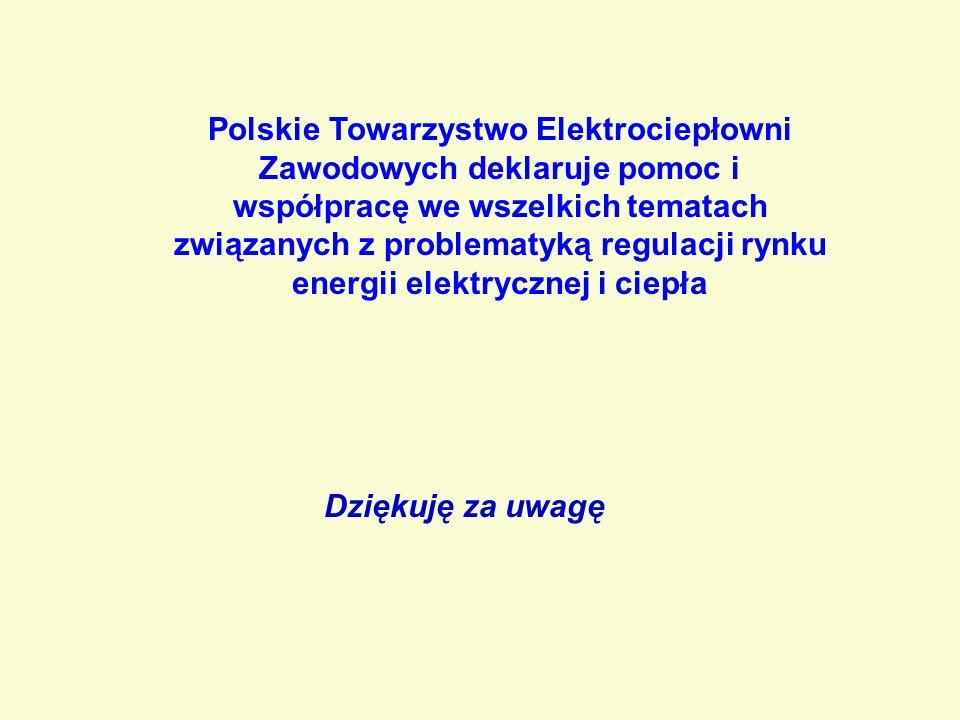 Dziękuję za uwagę Polskie Towarzystwo Elektrociepłowni Zawodowych deklaruje pomoc i współpracę we wszelkich tematach związanych z problematyką regulacji rynku energii elektrycznej i ciepła