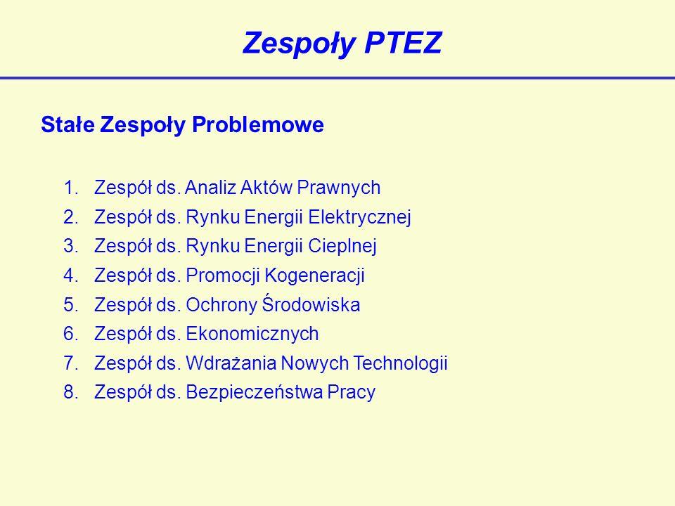 PTEZ w innych organizacjach PTEZ jest członkiem następujących stowarzyszeń i organizacji międzynarodowych i krajowych: - COGEN Europe - Polski Klub Kogeneracji - Polski Komitet Energii Elektrycznej