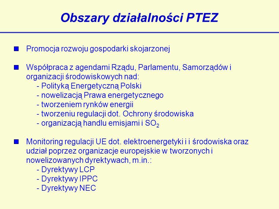 Obszary działalności PTEZ Promocja rozwoju gospodarki skojarzonej Współpraca z agendami Rządu, Parlamentu, Samorządów i organizacji środowiskowych nad: - Polityką Energetyczną Polski - nowelizacją Prawa energetycznego - tworzeniem rynków energii - tworzeniu regulacji dot.