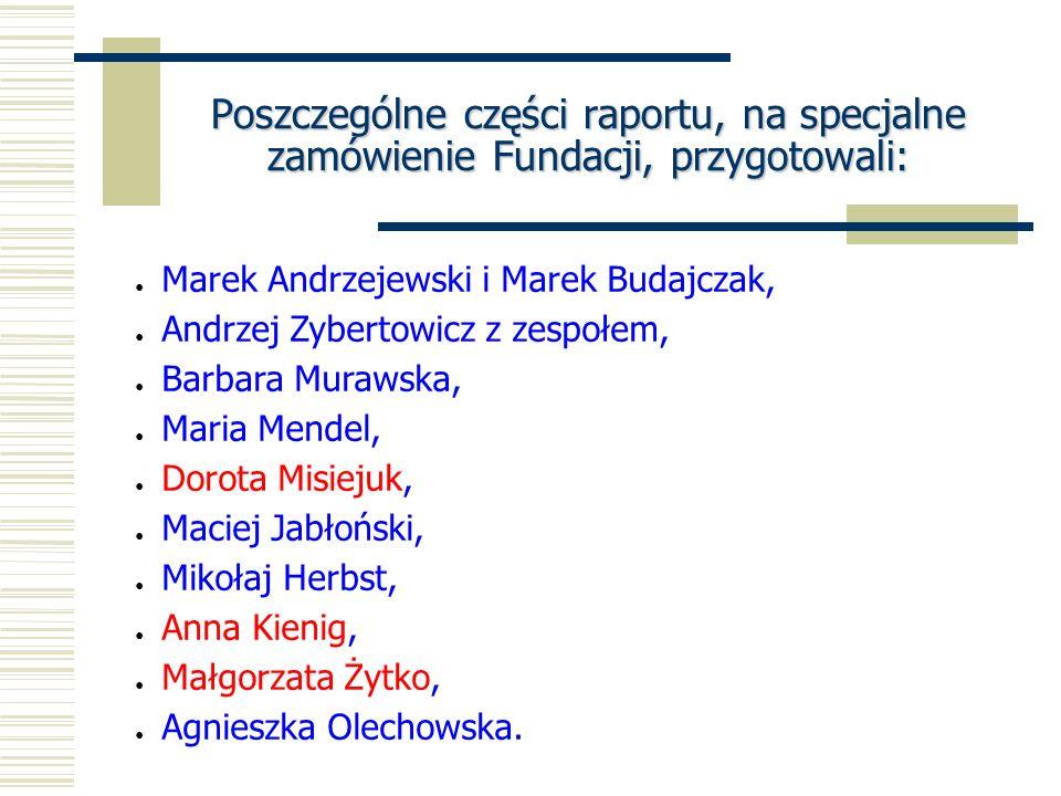 Poszczególne części raportu, na specjalne zamówienie Fundacji, przygotowali: Marek Andrzejewski i Marek Budajczak, Andrzej Zybertowicz z zespołem, Bar