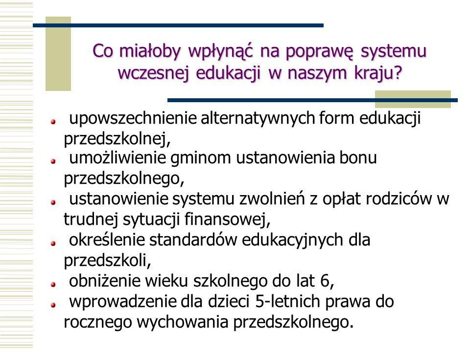 Co miałoby wpłynąć na poprawę systemu wczesnej edukacji w naszym kraju? upowszechnienie alternatywnych form edukacji przedszkolnej, umożliwienie gmino