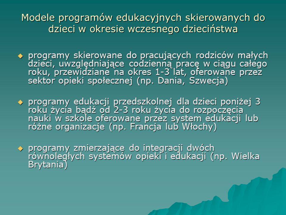 Modele programów edukacyjnych skierowanych do dzieci w okresie wczesnego dzieciństwa programy skierowane do pracujących rodziców małych dzieci, uwzglę
