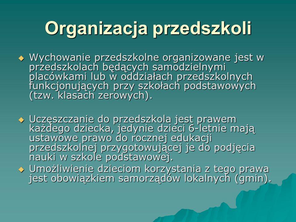 Organizacja przedszkoli Wychowanie przedszkolne organizowane jest w przedszkolach będących samodzielnymi placówkami lub w oddziałach przedszkolnych fu