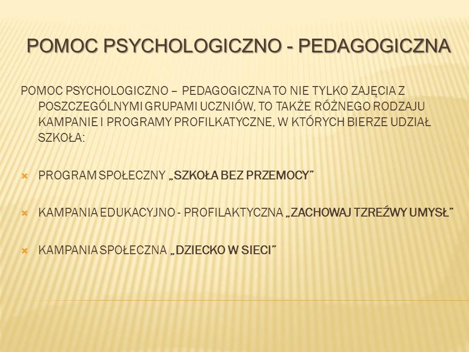 POMOC PSYCHOLOGICZNO - PEDAGOGICZNA POMOC PSYCHOLOGICZNO – PEDAGOGICZNA TO NIE TYLKO ZAJĘCIA Z POSZCZEGÓLNYMI GRUPAMI UCZNIÓW, TO TAKŻE RÓŻNEGO RODZAJ