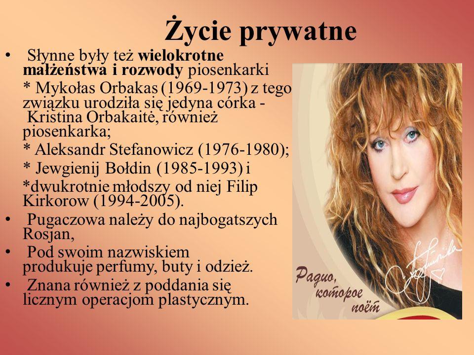Życie prywatne Słynne były też wielokrotne małżeństwa i rozwody piosenkarki * Mykołas Orbakas (1969-1973) z tego związku urodziła się jedyna córka - K