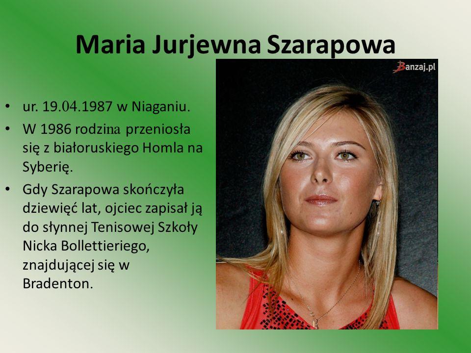 Maria Jurjewna Szarapowa ur. 19.04. 1987 w Niaganiu. W 1986 rodzi na przeniosła się z białoruskiego Homla na Syberię. Gdy Szarapowa skończyła dziewięć
