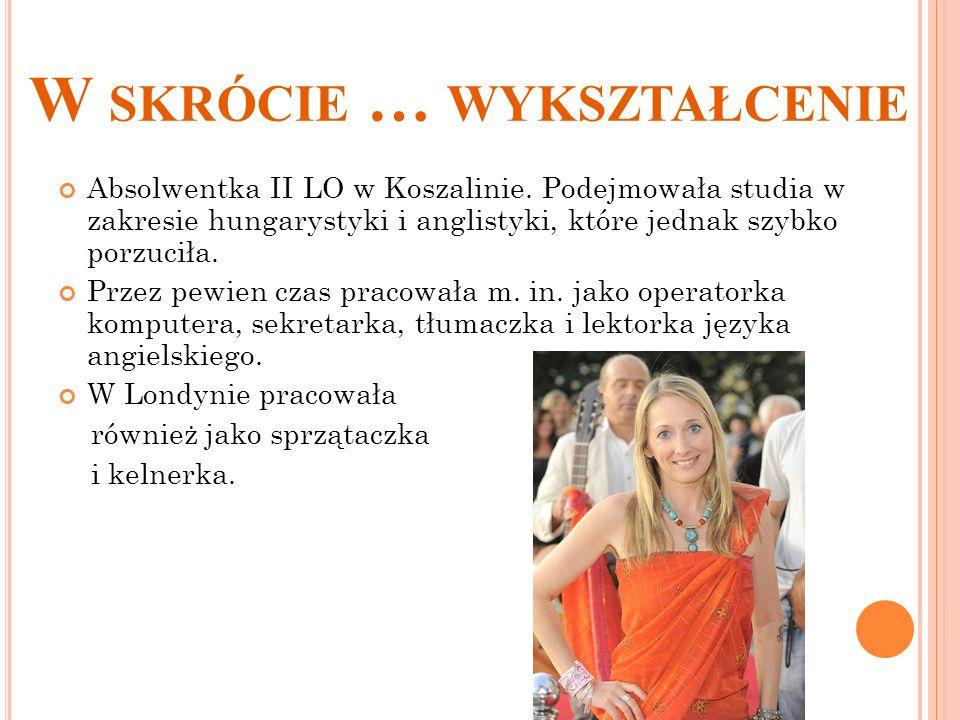 W SKRÓCIE … WYKSZTAŁCENIE Absolwentka II LO w Koszalinie. Podejmowała studia w zakresie hungarystyki i anglistyki, które jednak szybko porzuciła. Prze