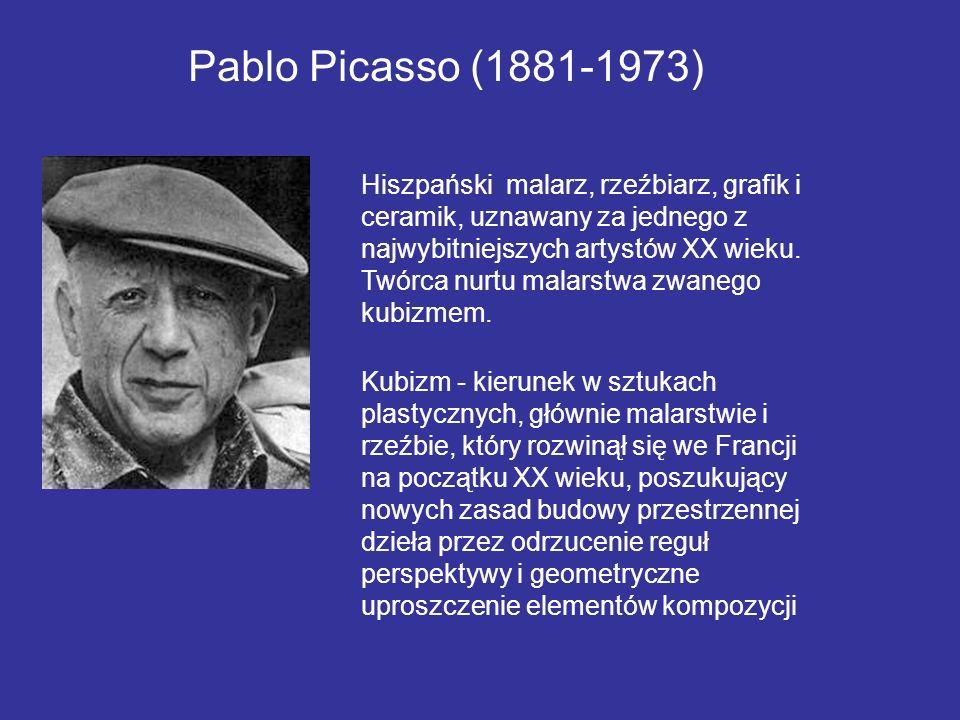 Hiszpański malarz, rzeźbiarz, grafik i ceramik, uznawany za jednego z najwybitniejszych artystów XX wieku. Twórca nurtu malarstwa zwanego kubizmem. Pa