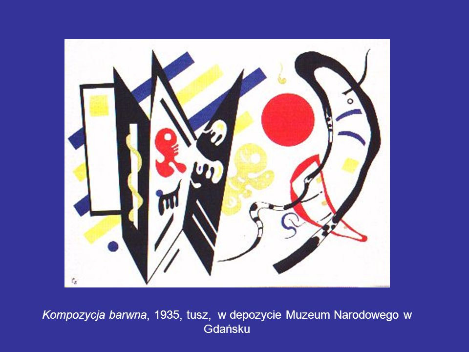 Kompozycja barwna, 1935, tusz, w depozycie Muzeum Narodowego w Gdańsku