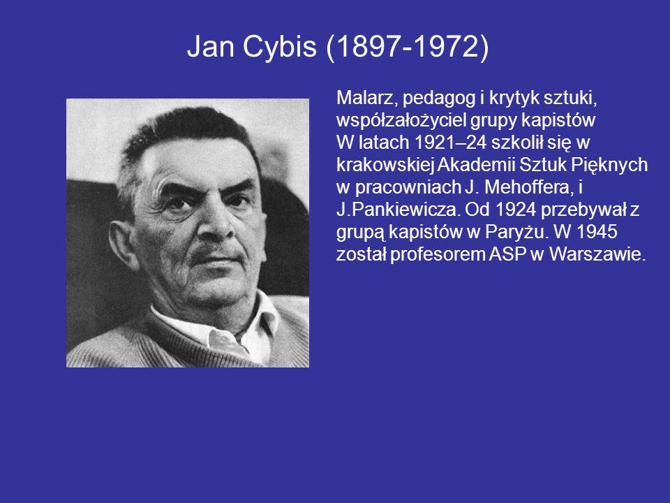 Jan Cybis (1897-1972) Malarz, pedagog i krytyk sztuki, współzałożyciel grupy kapistów W latach 1921–24 szkolił się w krakowskiej Akademii Sztuk Piękny