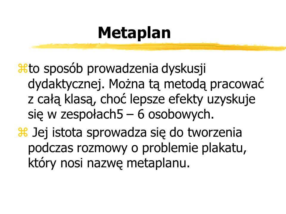 Metaplan zto sposób prowadzenia dyskusji dydaktycznej. Można tą metodą pracować z całą klasą, choć lepsze efekty uzyskuje się w zespołach5 – 6 osobowy