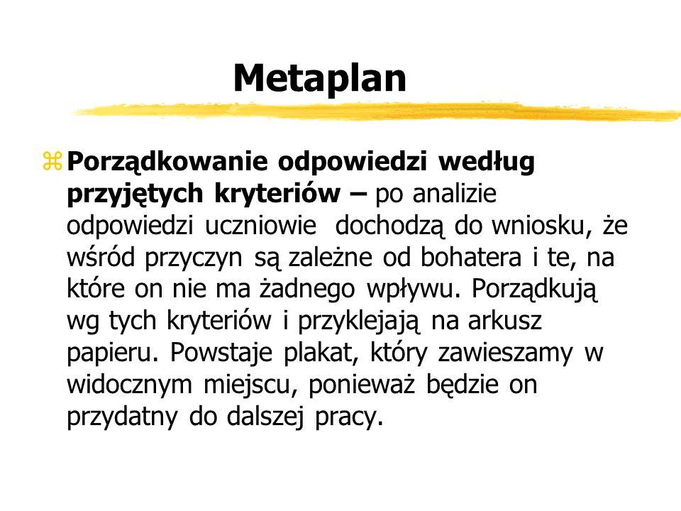 Metaplan zPorządkowanie odpowiedzi według przyjętych kryteriów – po analizie odpowiedzi uczniowie dochodzą do wniosku, że wśród przyczyn są zależne od