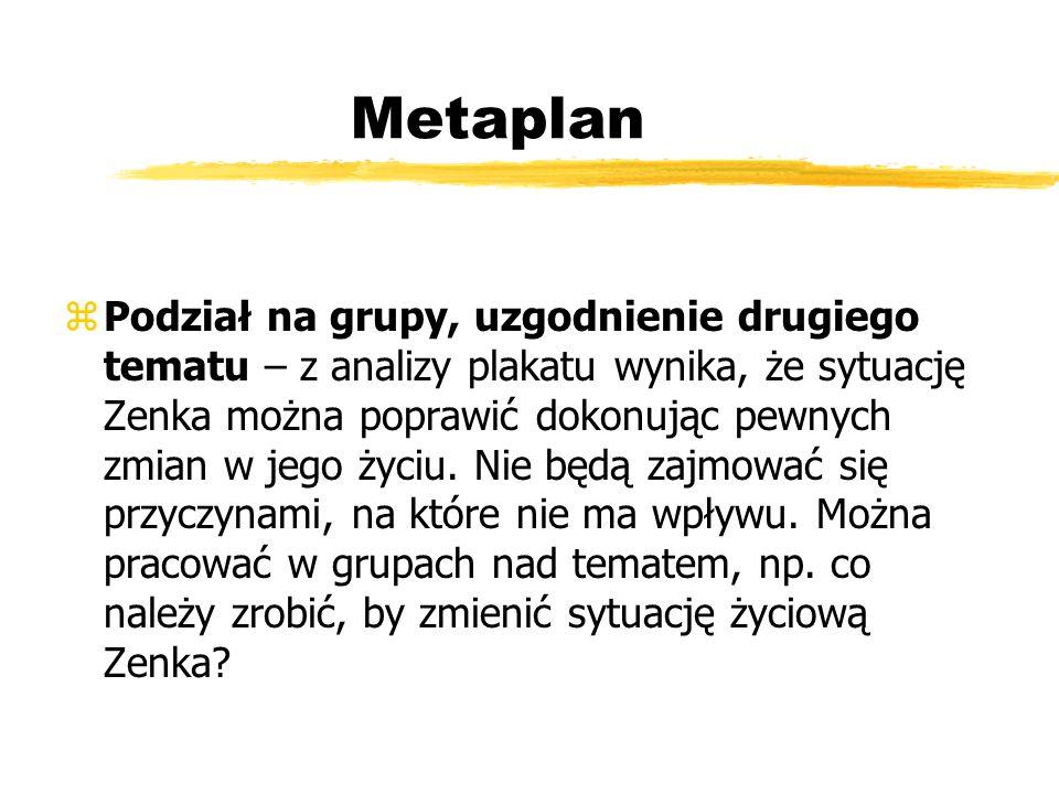 Metaplan zPodział na grupy, uzgodnienie drugiego tematu – z analizy plakatu wynika, że sytuację Zenka można poprawić dokonując pewnych zmian w jego ży