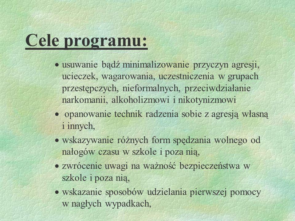 Cel główny: §Kształtowanie kompetencji, autonomii i odpowiedzialności młodzieży w zakresie profilaktyki uzależnień służących realizacji priorytetu : ż