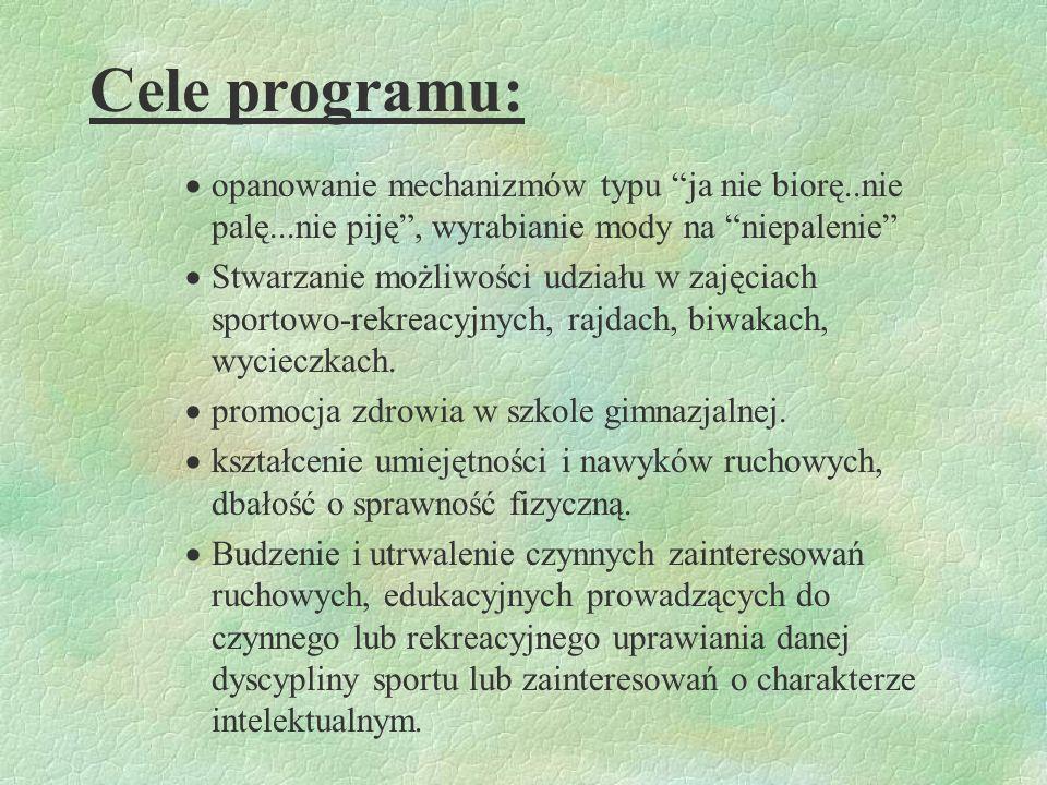 Cele programu: usuwanie bądź minimalizowanie przyczyn agresji, ucieczek, wagarowania, uczestniczenia w grupach przestępczych, nieformalnych, przeciwdz
