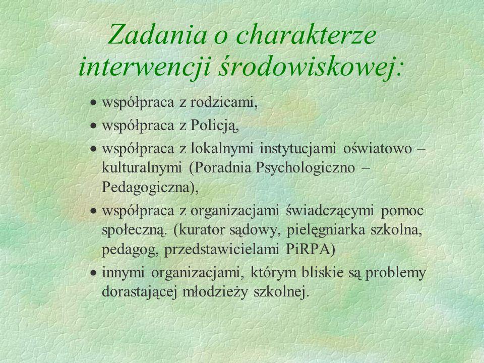 Zadania interwencyjne: objęcie indywidualną opieką psychologiczno - pedagogiczną