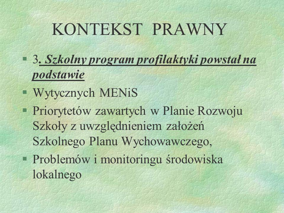 KONTEKST PRAWNY 2. Na podstawie Rozporządzenia Ministra Edukacji Narodowej i Sportu z dnia 31 stycznia 2002 roku wprowadza się SZKOLNY PROGRAM PROFILA