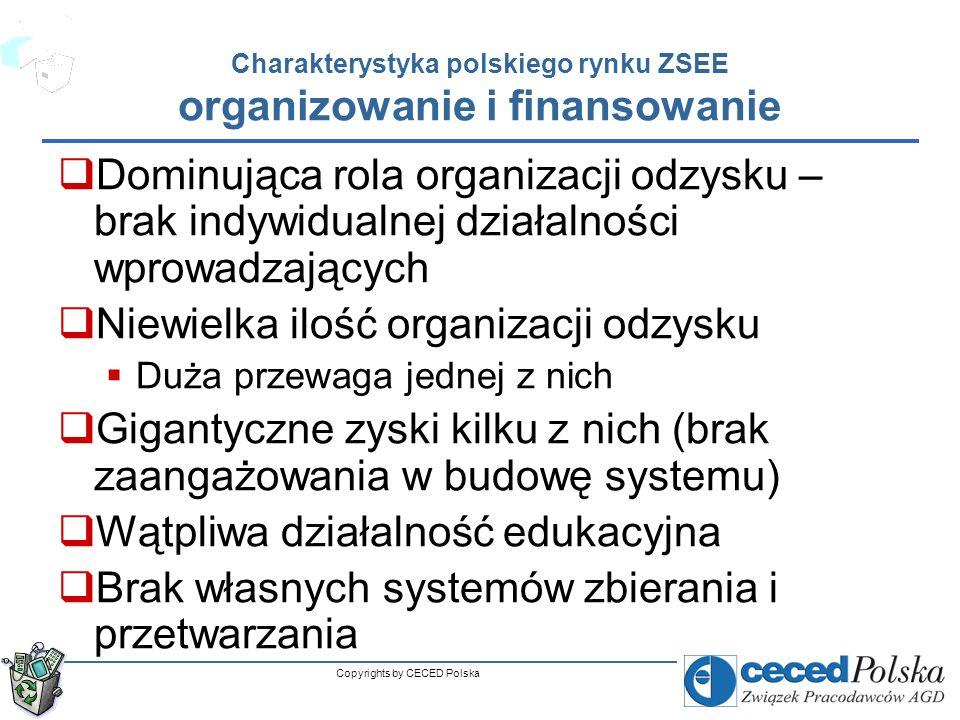 Copyrights by CECED Polska Atuty i szanse polskiego rynku ZSEE początkowa faza rozwoju rynku (dopiero 5 lat) dość dobra komunikacja branżowa duża sieć zbierania w postaci punktów złomiarskich (paradoks) nowe prawo odpadowe (Ustawa o odpadach, Ustawa o zachowaniu czystości i porządku w gminach, Ustawa Prawo ochrony Środowiska, Ustawa o opłacie produktowej…) znajomość rozwoju innych rynków zagranicznych Fazy rozwoju Główni gracze Udział kosztów Morfologia odpadów itp