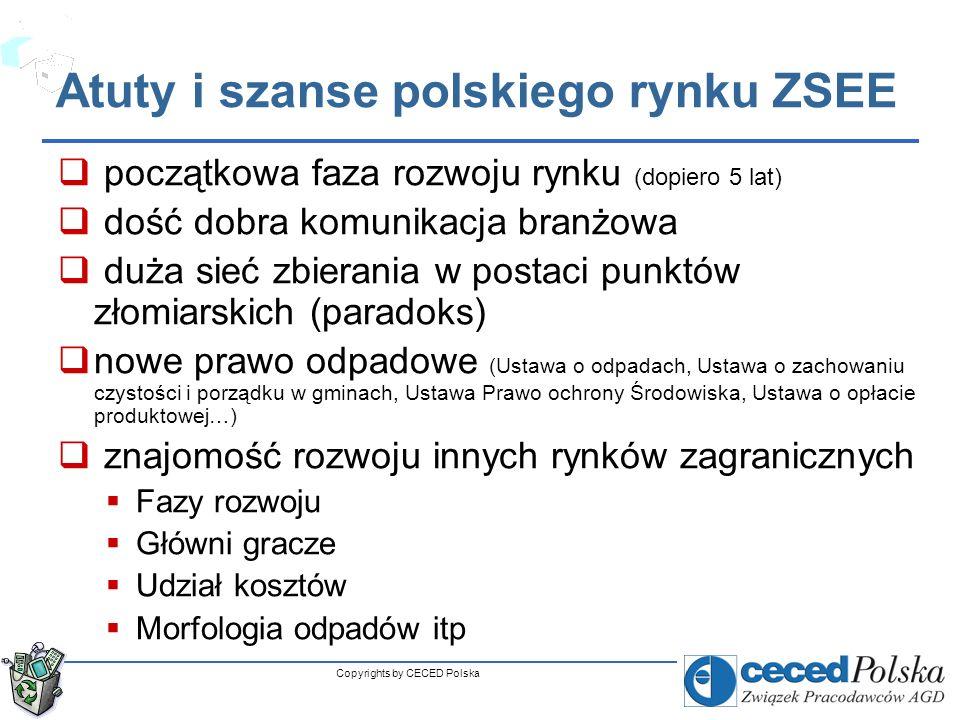 Copyrights by CECED Polska Problemy rynku ZSEE brak danych rynkowych szara strefa blokująca rozwój uczciwego rynku Ustawowy podział na grupy, a nie rodzaje sprzętu (łączenie lodówek z pralkami czy kineskopów z innym RTV) Duży udział branży złomiarskiej (niejasna definicja ZSEE – czy rozmontowany sprzet jest ZSEE?, kody odpadów…) Tradycja zbierania odpadów metalowych Słaba kontrola, monitoring i egzekucja prawa Brak równoczesnych kontroli WIOŚ, US, Prokuratury, NIK… Brak pozytywnych i nagłośnionych precedensów Nieprecyzyjne i łatwe do obejścia prawo (np.