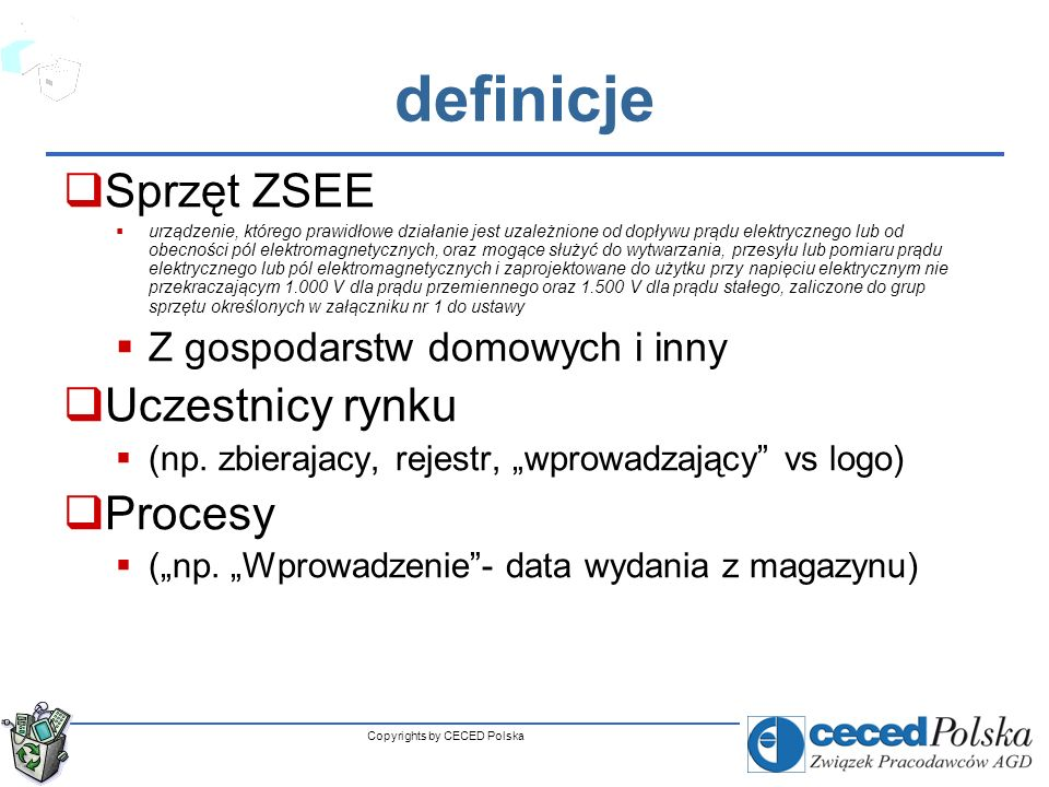 Copyrights by CECED Polska Grupy i rodzaje ZSEE 1.
