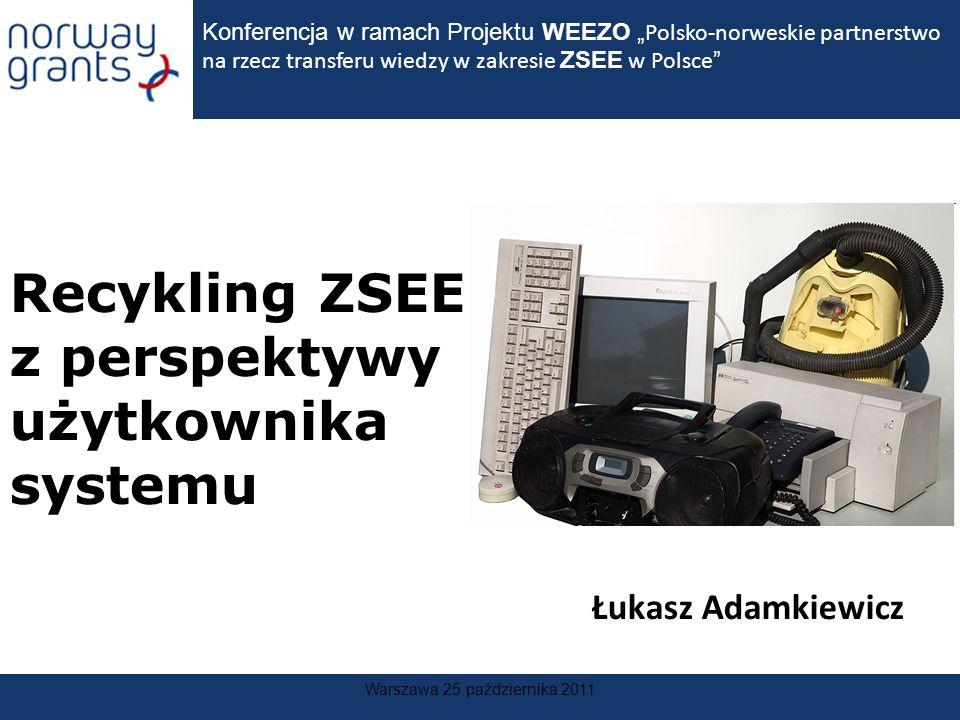 Warszawa 25 października 2011 Recykling ZSEE z perspektywy użytkownika systemu Konferencja w ramach Projektu WEEZO Polsko-norweskie partnerstwo na rze