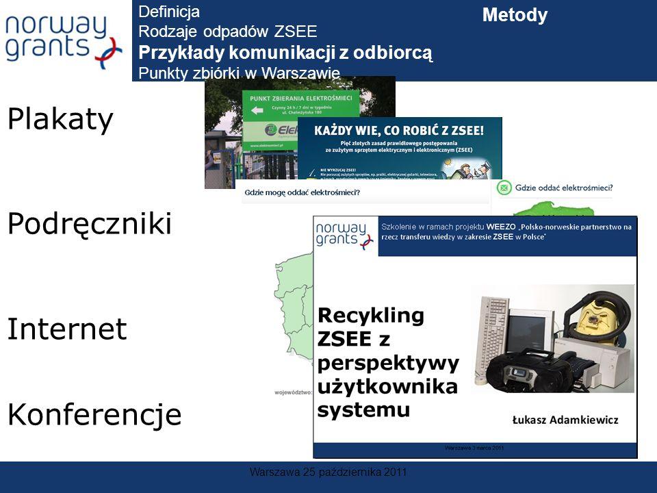 Warszawa 25 października 2011 Plakaty Podręczniki Internet Konferencje Definicja Rodzaje odpadów ZSEE Przykłady komunikacji z odbiorcą Punkty zbiórki