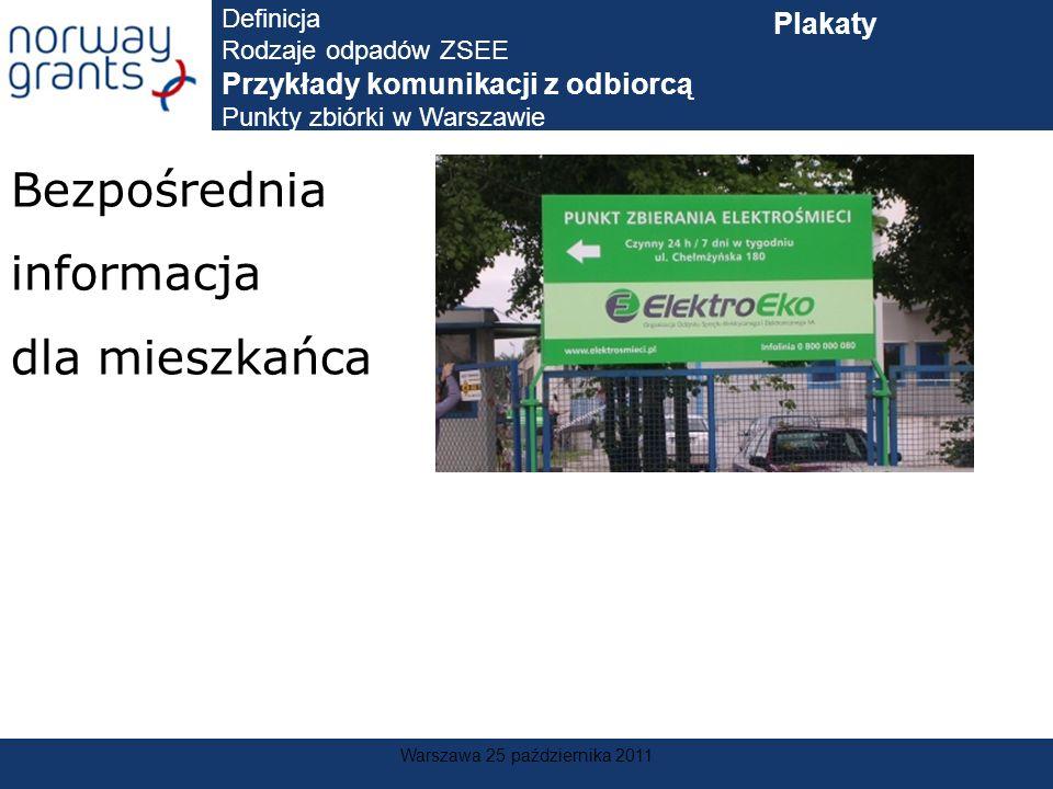 Warszawa 25 października 2011 Bezpośrednia informacja dla mieszkańca Definicja Rodzaje odpadów ZSEE Przykłady komunikacji z odbiorcą Punkty zbiórki w