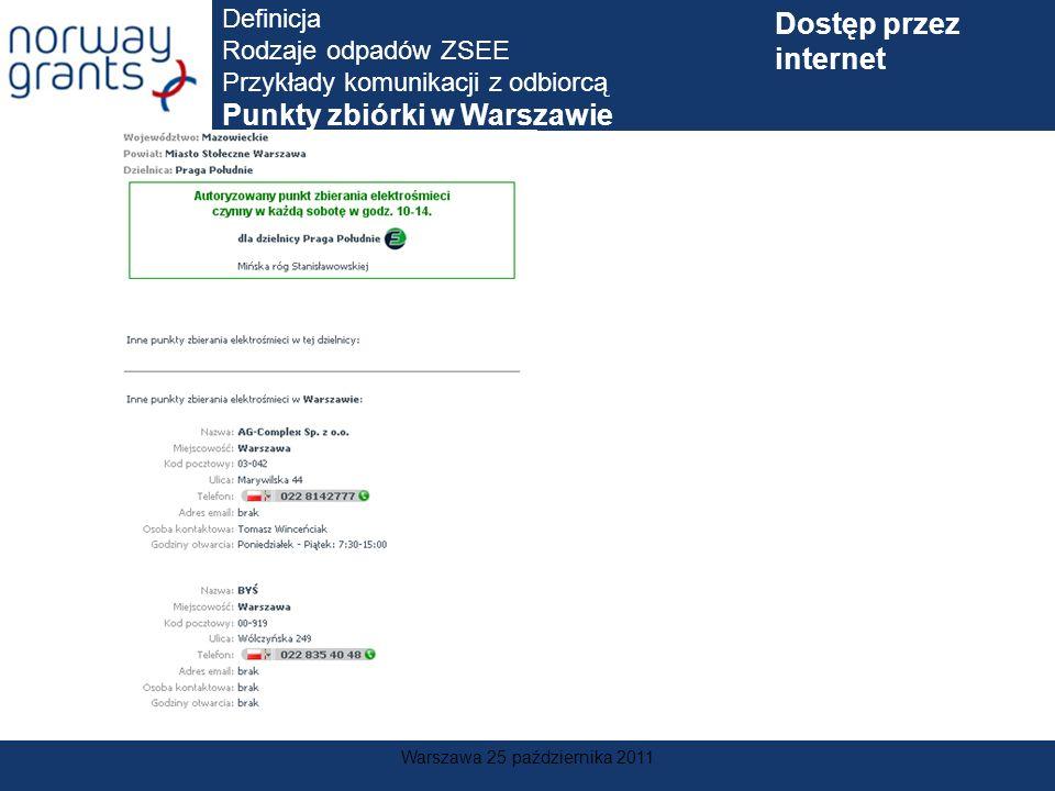 Warszawa 25 października 2011 Definicja Rodzaje odpadów ZSEE Przykłady komunikacji z odbiorcą Punkty zbiórki w Warszawie Dostęp przez internet