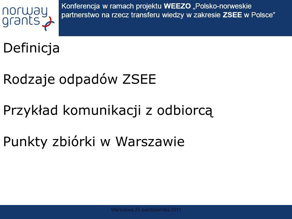 Konferencja w ramach projektu WEEZO Polsko-norweskie partnerstwo na rzecz transferu wiedzy w zakresie ZSEE w Polsce Warszawa 25 października 2011 Defi