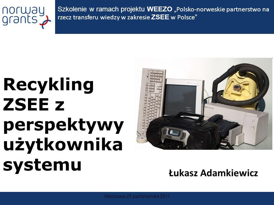 Warszawa 25 października 2011 Recykling ZSEE z perspektywy użytkownika systemu Szkolenie w ramach projektu WEEZO Polsko-norweskie partnerstwo na rzecz