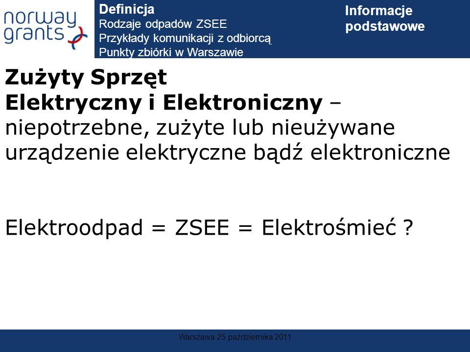 Warszawa 25 października 2011 Zużyty Sprzęt Elektryczny i Elektroniczny – niepotrzebne, zużyte lub nieużywane urządzenie elektryczne bądź elektroniczn