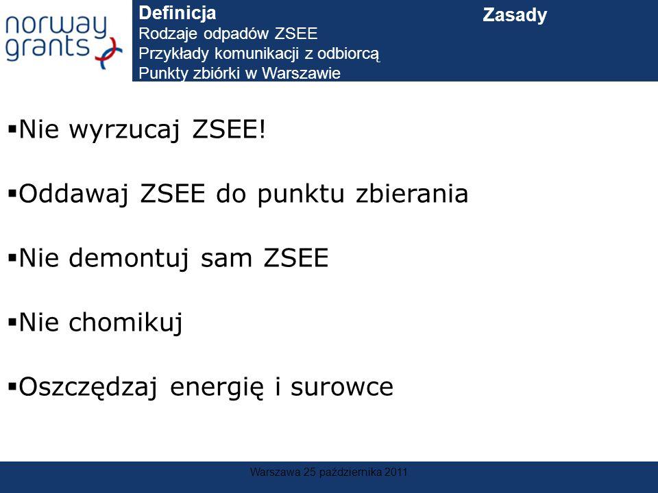 Warszawa 25 października 2011 Nie wyrzucaj ZSEE! Oddawaj ZSEE do punktu zbierania Nie demontuj sam ZSEE Nie chomikuj Oszczędzaj energię i surowce Defi