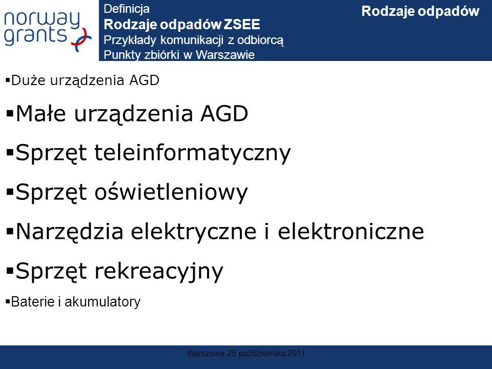 Warszawa 25 października 2011 Duże urządzenia AGD Małe urządzenia AGD Sprzęt teleinformatyczny Sprzęt oświetleniowy Narzędzia elektryczne i elektronic