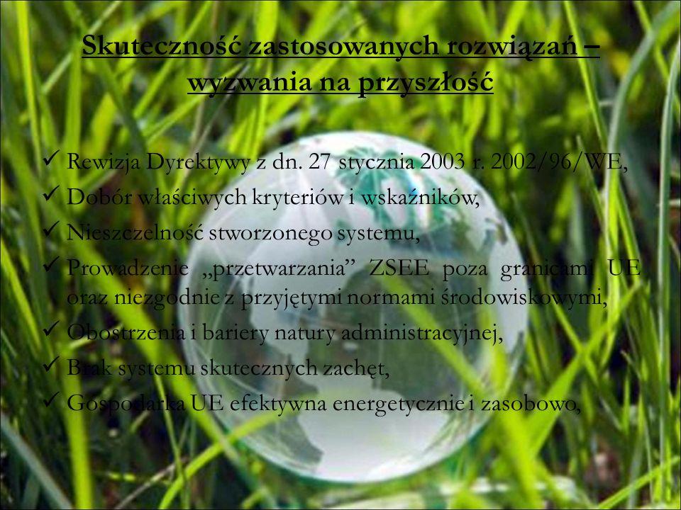 Skuteczność zastosowanych rozwiązań – wyzwania na przyszłość Rewizja Dyrektywy z dn. 27 stycznia 2003 r. 2002/96/WE, Dobór właściwych kryteriów i wska