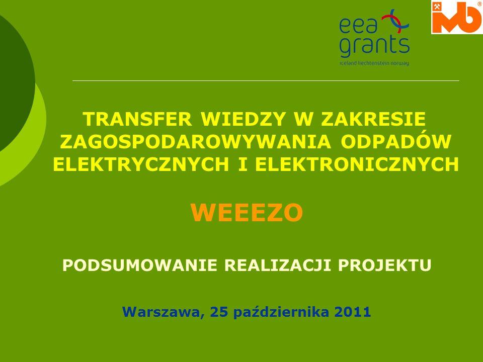 TRANSFER WIEDZY W ZAKRESIE ZAGOSPODAROWYWANIA ODPADÓW ELEKTRYCZNYCH I ELEKTRONICZNYCH WEEEZO PODSUMOWANIE REALIZACJI PROJEKTU Warszawa, 25 październik