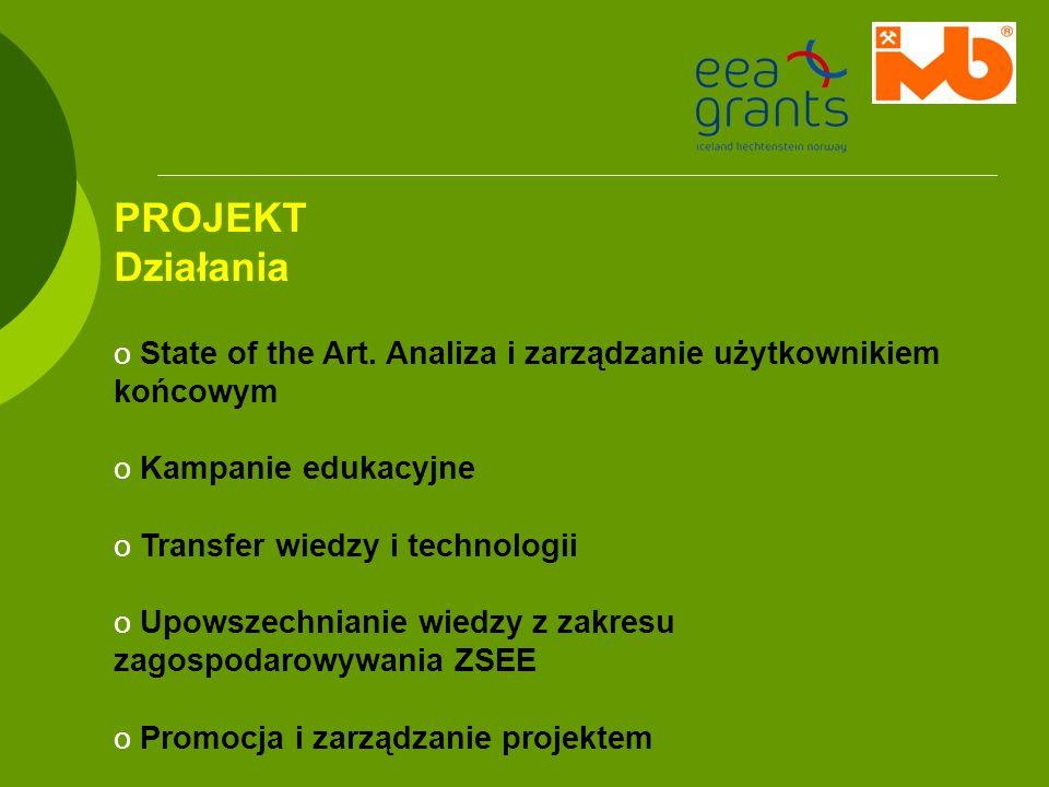 PROJEKT Działania o State of the Art. Analiza i zarządzanie użytkownikiem końcowym o Kampanie edukacyjne o Transfer wiedzy i technologii o Upowszechni