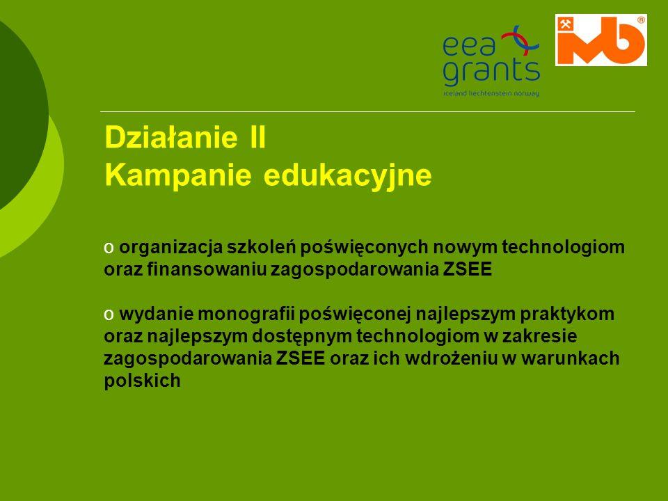 Działanie II Kampanie edukacyjne o organizacja szkoleń poświęconych nowym technologiom oraz finansowaniu zagospodarowania ZSEE o wydanie monografii po