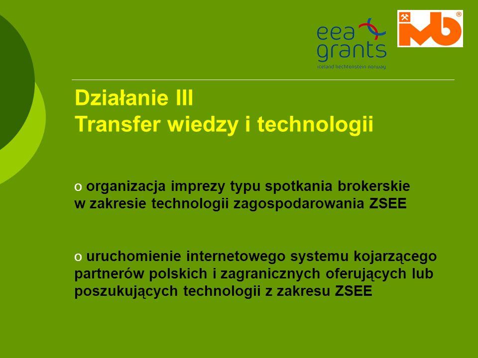 Działanie III Transfer wiedzy i technologii o organizacja imprezy typu spotkania brokerskie w zakresie technologii zagospodarowania ZSEE o uruchomieni