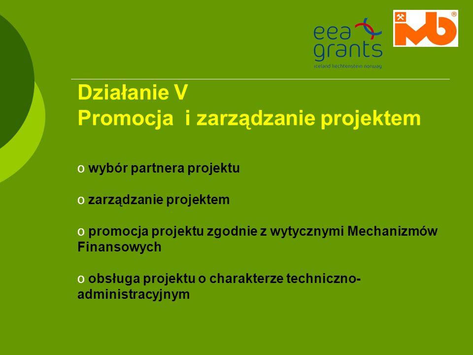 Działanie V Promocja i zarządzanie projektem o wybór partnera projektu o zarządzanie projektem o promocja projektu zgodnie z wytycznymi Mechanizmów Fi