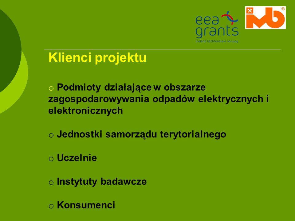 Klienci projektu o Podmioty działające w obszarze zagospodarowywania odpadów elektrycznych i elektronicznych o Jednostki samorządu terytorialnego o Uc