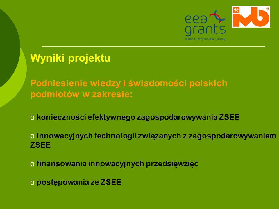 Wyniki projektu Podniesienie wiedzy i świadomości polskich podmiotów w zakresie: o konieczności efektywnego zagospodarowywania ZSEE o innowacyjnych te