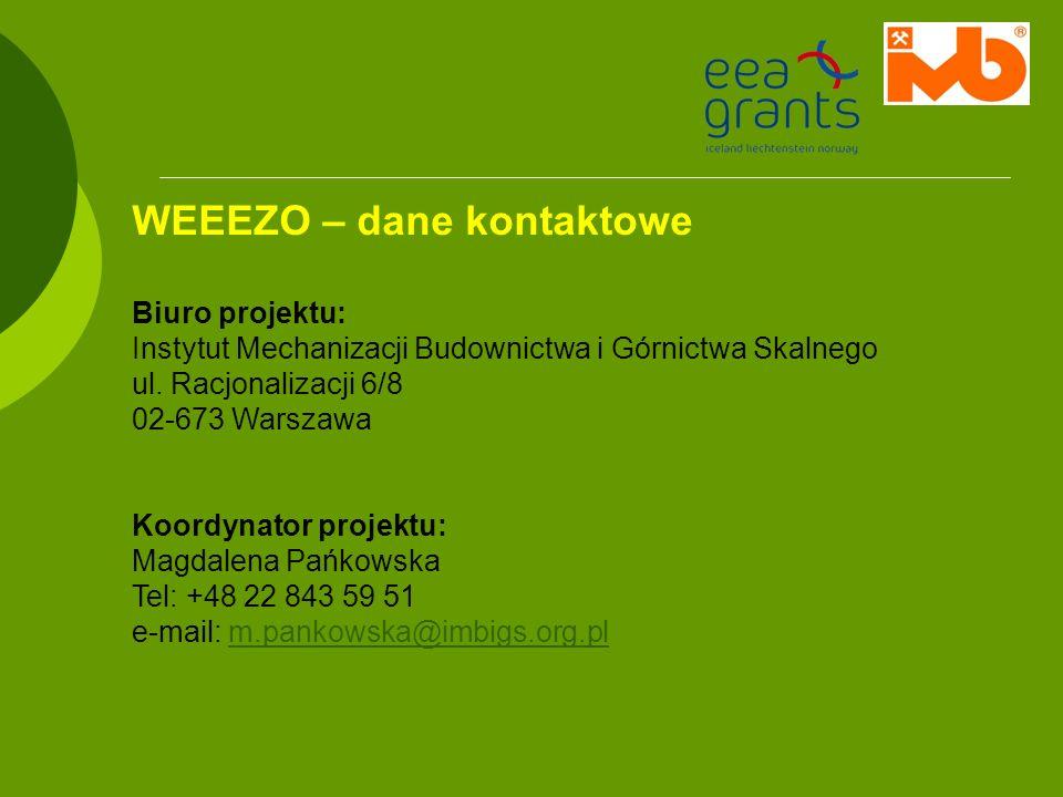 WEEEZO – dane kontaktowe Biuro projektu: Instytut Mechanizacji Budownictwa i Górnictwa Skalnego ul. Racjonalizacji 6/8 02-673 Warszawa Koordynator pro